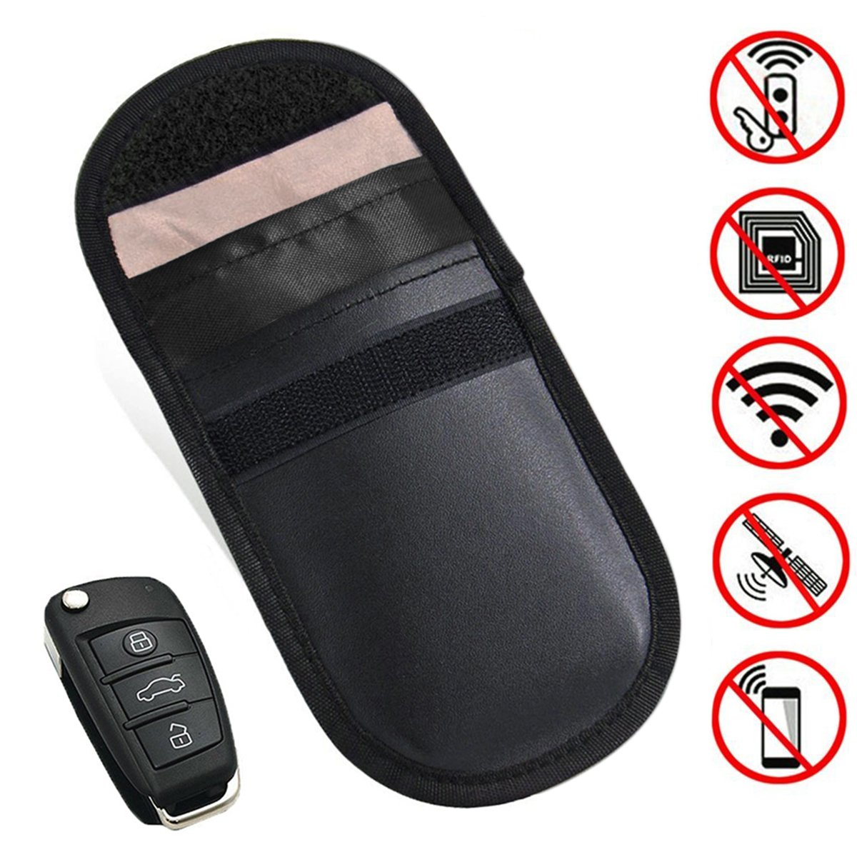 Keyfob RFID Signal Blocking Bag Faraday Cage, Key Fob Guard Protector Device Shielding, Anti-Hacking Assurance for Wireless Car Keys, KeyFOBs, Keyless Entry, Car Key Remotes, Credit Card Protection MONOJOY 4336324168
