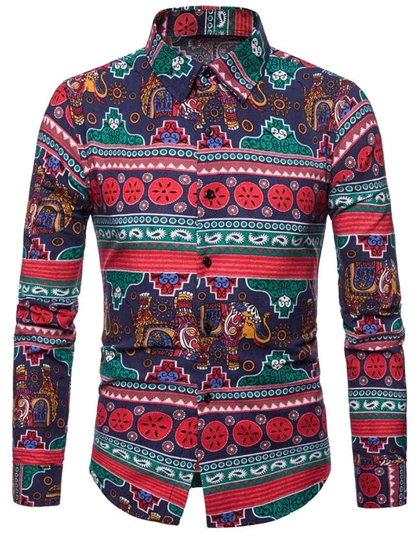 Mstyle Men Casual Slim Fit Elephant Lapel Long Sleeve Floral Print Button Down Dress Work Shirt