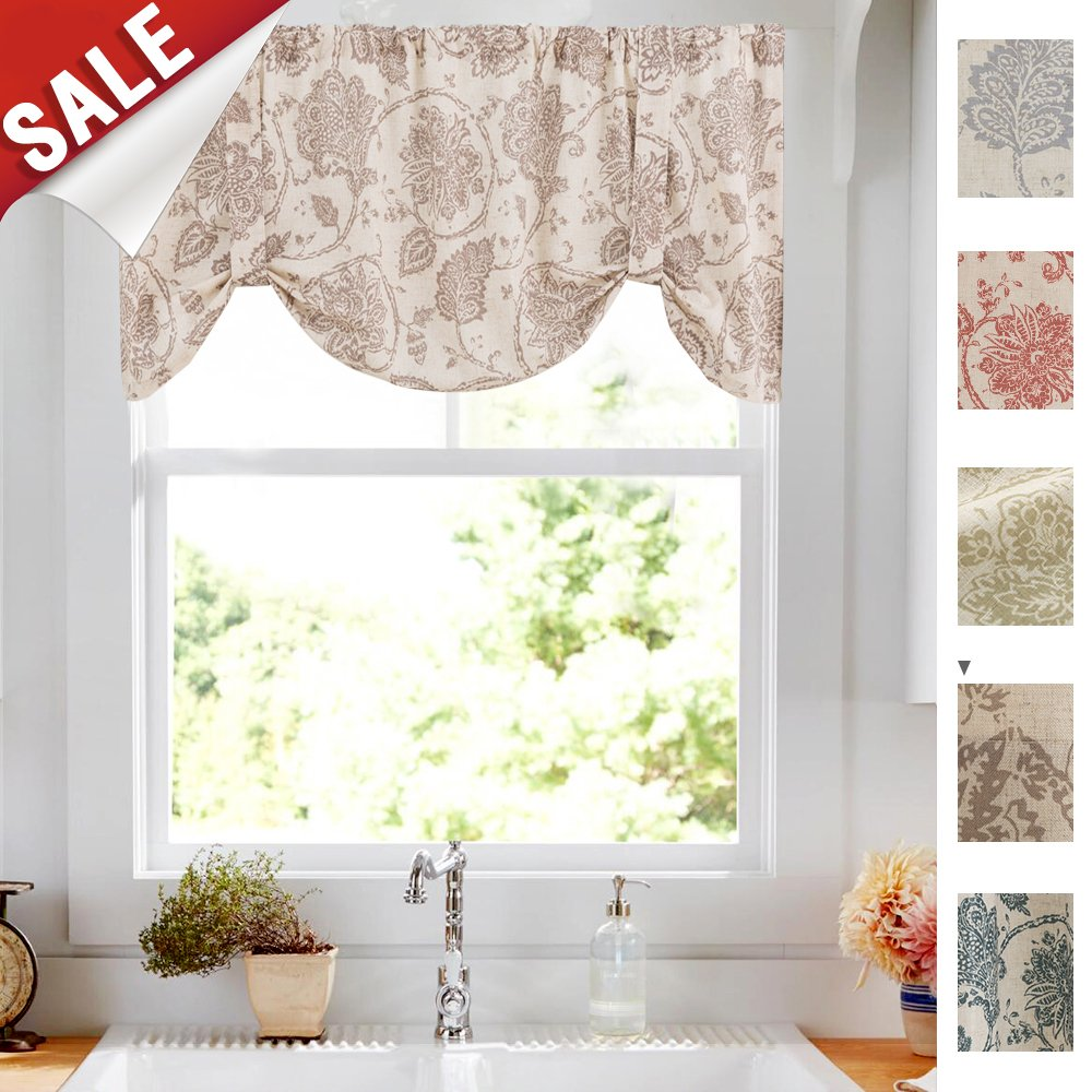 tie up valances for windows jacobean floral printed tie up valances for kitchen ebay. Black Bedroom Furniture Sets. Home Design Ideas