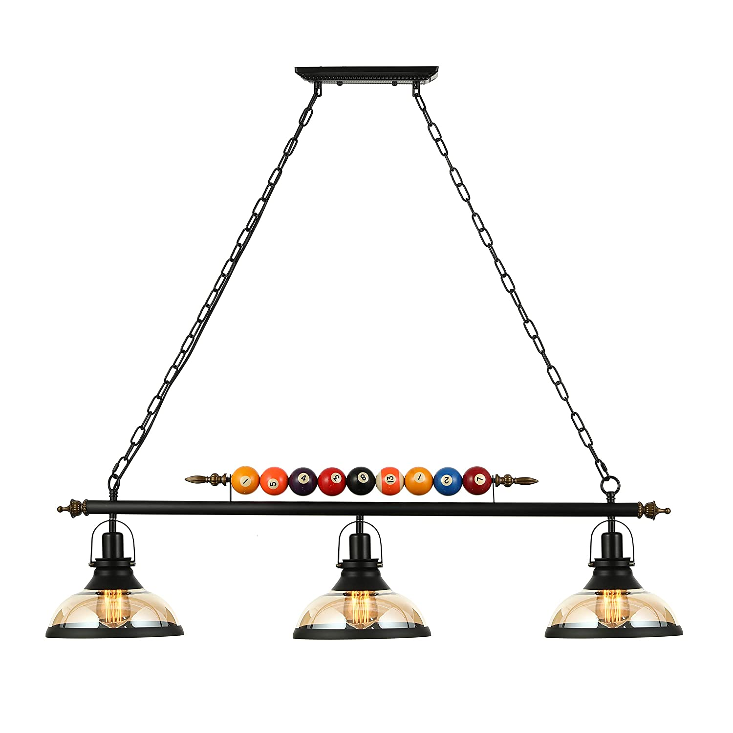 Ladiqi 3 lights island light hanging pool table light fixture pendant light with clear glass shade special billiard ball decoration chandelier for