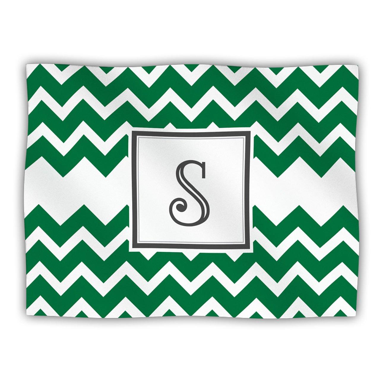 Kess InHouse KESS Original 'Monogram Chevron Green Letter S' Dog Blanket, 40 by 30-Inch