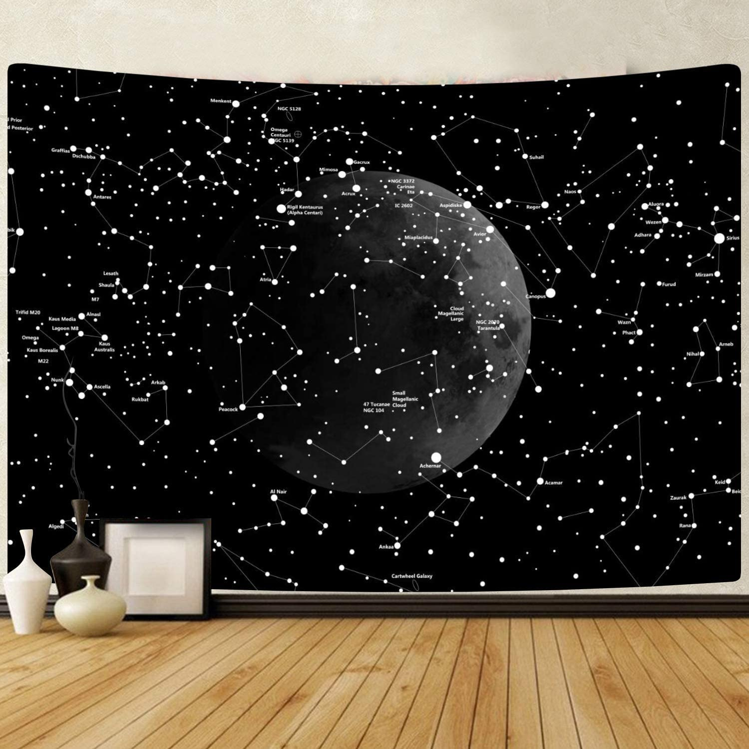 PANDAYAQ Moon Constellations Tapestry Wall Hanging Space Astrology Tapestry Black and White Tapestry for Bedroom Living Room Dorm Wall Decor