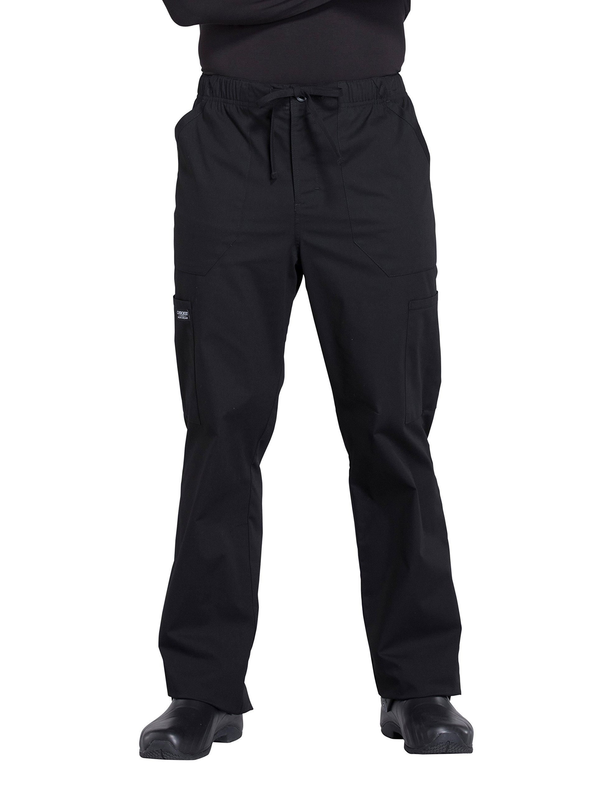 Cherokee Professionals Workwear Men's Tapered Leg Zip Fly Drawstring Scrub Pant Medium Tall Black