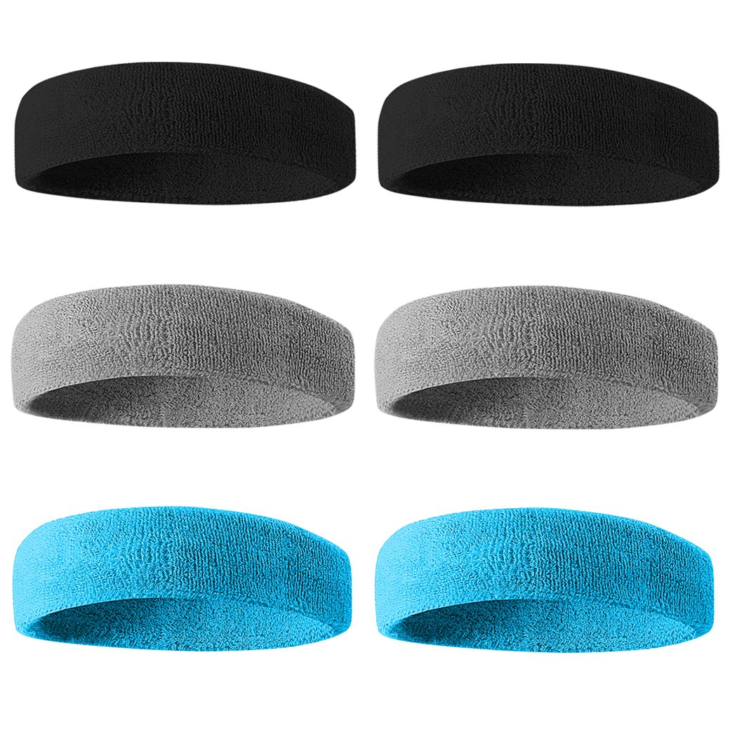 Beace Sweatband Sports Headband for Men and Women, Moisture Wicking Athletic Cotton Terry Cloth Sweatband for Tennis, Running, Gym, Working Out, 6pcs, 2Black 2Gray 2LT Blue by BEACE