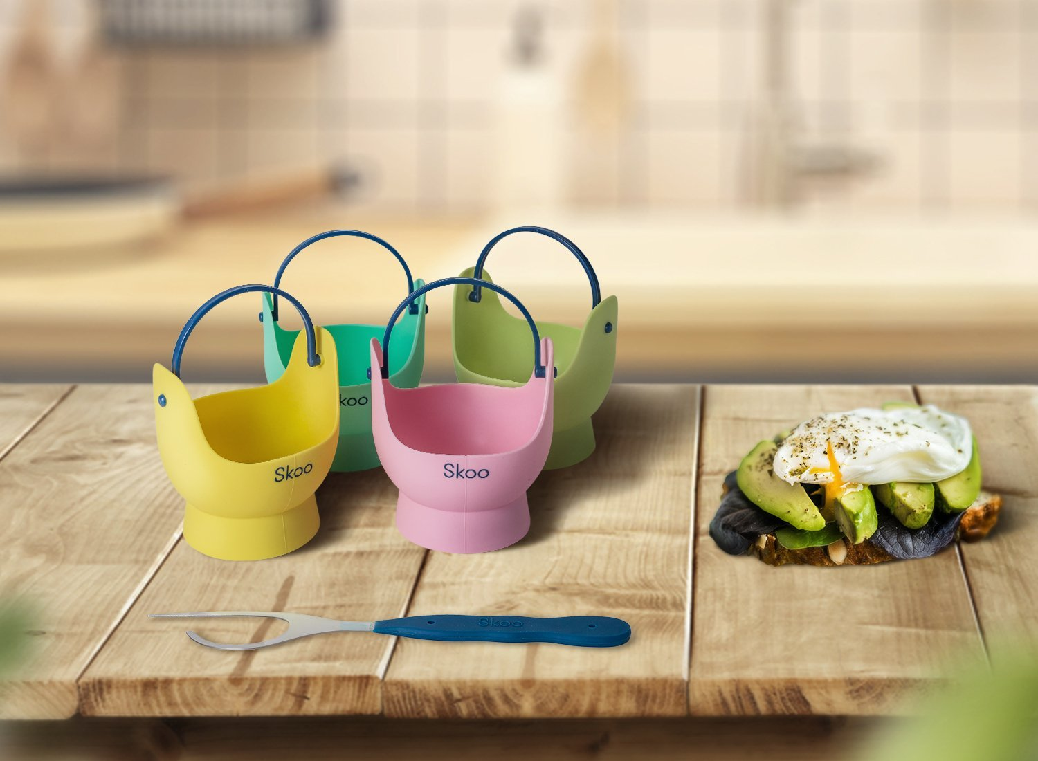 Silicone Egg Poacher Cups + Free Fork - Egg Cooker Set - Perfect Poached Egg Maker - For Stove Top, Microwave and Instant Pot by Skoo (Image #6)