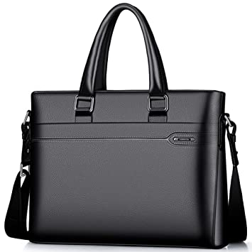 c2dac86d754 Amazon.com | LAORENTOU Men Genuine Leather Briefcase Laptop Handbag Computer  Bag (BLACK) | Briefcases