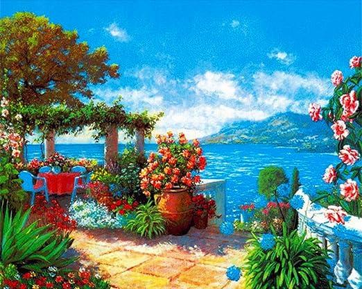 Kein Rahmen 40x50 cm Malen Nach Zahlen Erwachsene Kinder Blaues Meer DIY /Ölgem/älde Geschenk Enth/ält Acrylfarben und Pinsel Home Haus Dekor