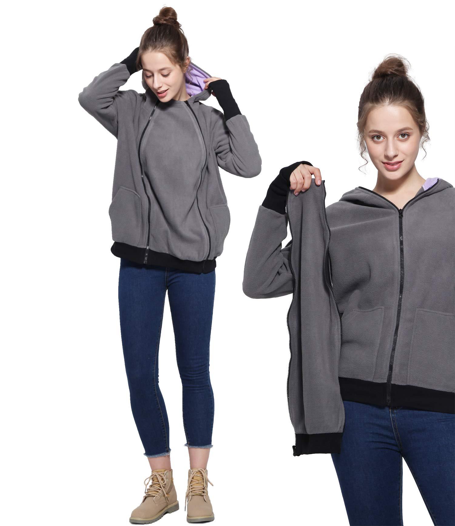 Womens Maternity Hoodie Polar Fleece Sweatshirt, 2 in1 Soft Zipper Up Jacket for Mom (Dark Gray, S/M)