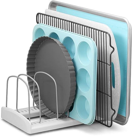 Youcopia 50158 Storemore Adjustable Bakeware Rack Pan Organizer Standard White