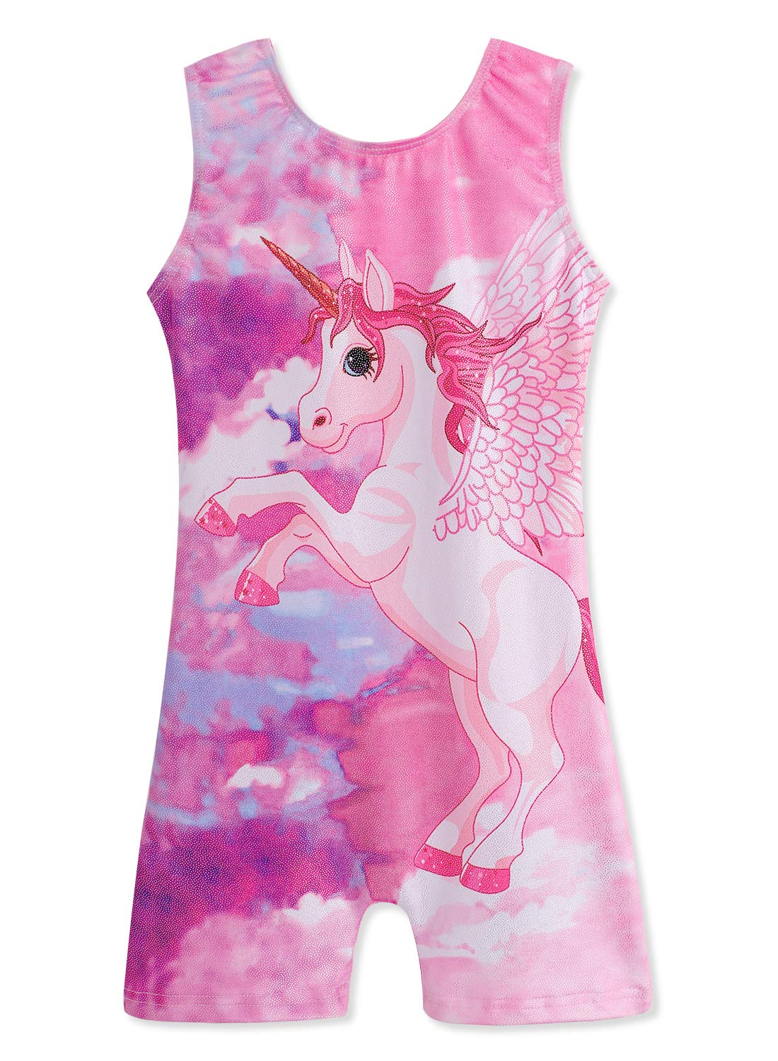 Gymnastics Leotards for Girls Biketards Sparkle Unicorn Pink and Blue (Pink Unicorn, 120(5-6Years)) by DAXIANG