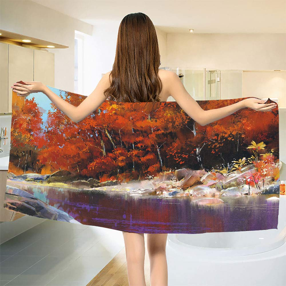 smallbeefly Nature Bath Towel River with Rocks Autumn Forest Peaceful Artistic Paint of Scenic Woods Artwork Customized Bath Towels Ginger Purple Size: W 19.5'' x L 39.24''