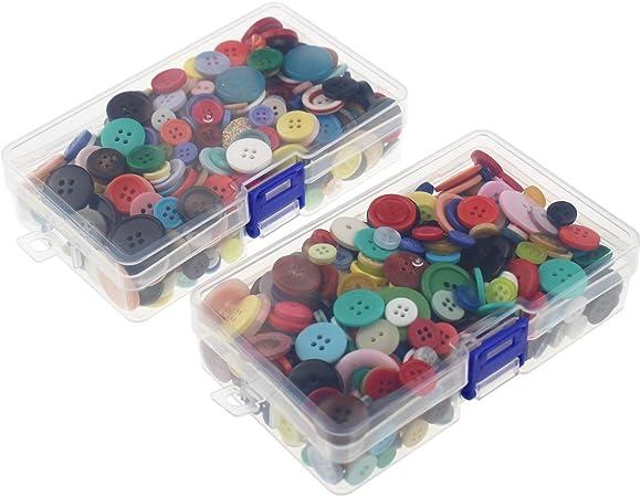 LJY 1000 piezas Redonda Craft resina botones 2 y 4 agujeros, varios colores y tamaños con plástico transparente cajas de almacenamiento para costura DIY manualidades niños botón manual de pintura: Amazon.es: Hogar