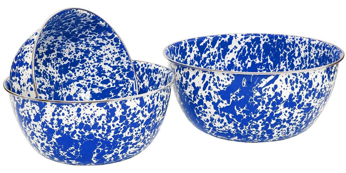 Crow Canyon Enamelware - 3 Piece Mixing Bowl Set - Blue on White Marble
