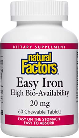 Natural Factors, Easy Iron Chewable, Gentle Supplement for Energy and Metabolism Support, Vegan, Tropical Fruit Flavor, 60 tablets (60 servings)