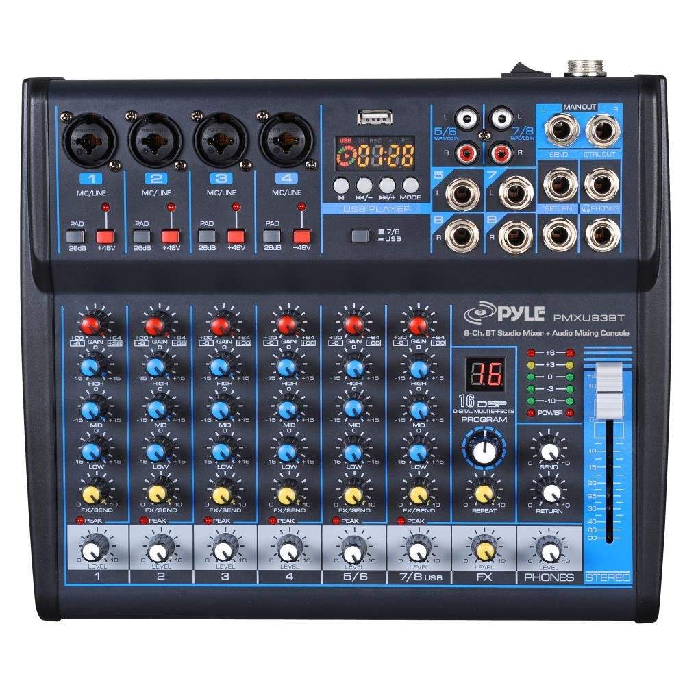 Pyle 8-Ch. Studio DJ Mixer [Audio Interface Mixing Sound System] Bluetooth Wireless Streaming | USB/Computer Connection Interface | Digital MP3 Support | +48V Phantom Power (PMXU83BT) Sound Around