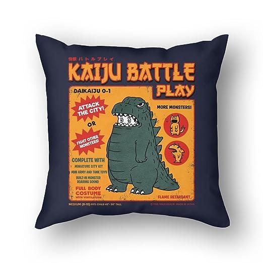 LUOOUY Funda COJÍN Kaiju Battle Play Funda de cojín Cuadrada ...