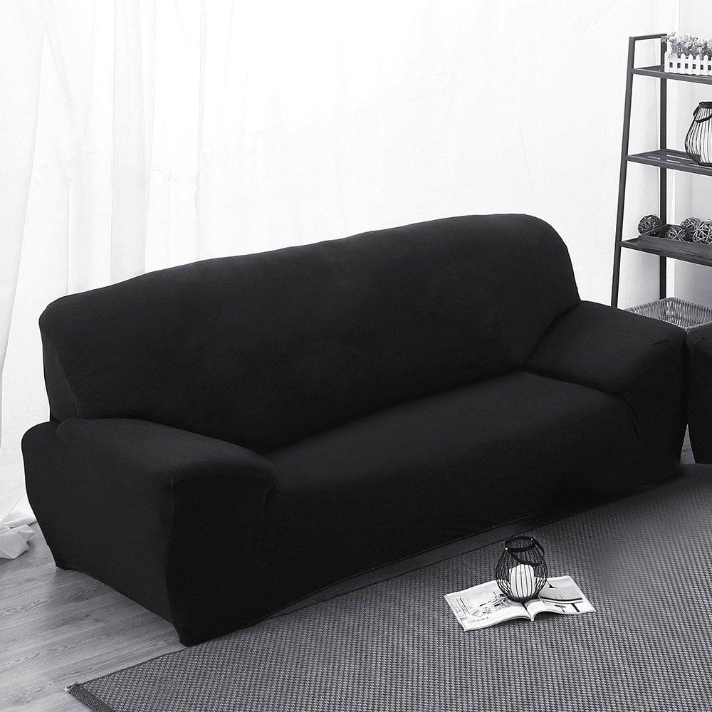 Gosear Funda para sofá, Alta Elasticidad 3 plazas Funda de sofá elástica, Cómodos sofás de 3 plazas (190cm - 230cm, 70-90 Inches), Negro