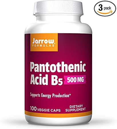 Jarrow Formulas Pantothenic Acid, B5, Supports Energy Production, 500 mg, 100 Capsules (Pack of 3)