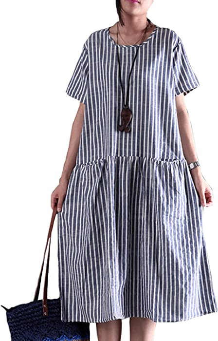 2b64ea6eb4 Fancy beautystyle Women s Stripe Dress Baggy Dress Asymmetrical Tunic Dress  Loose Linen Summer Dress (Large