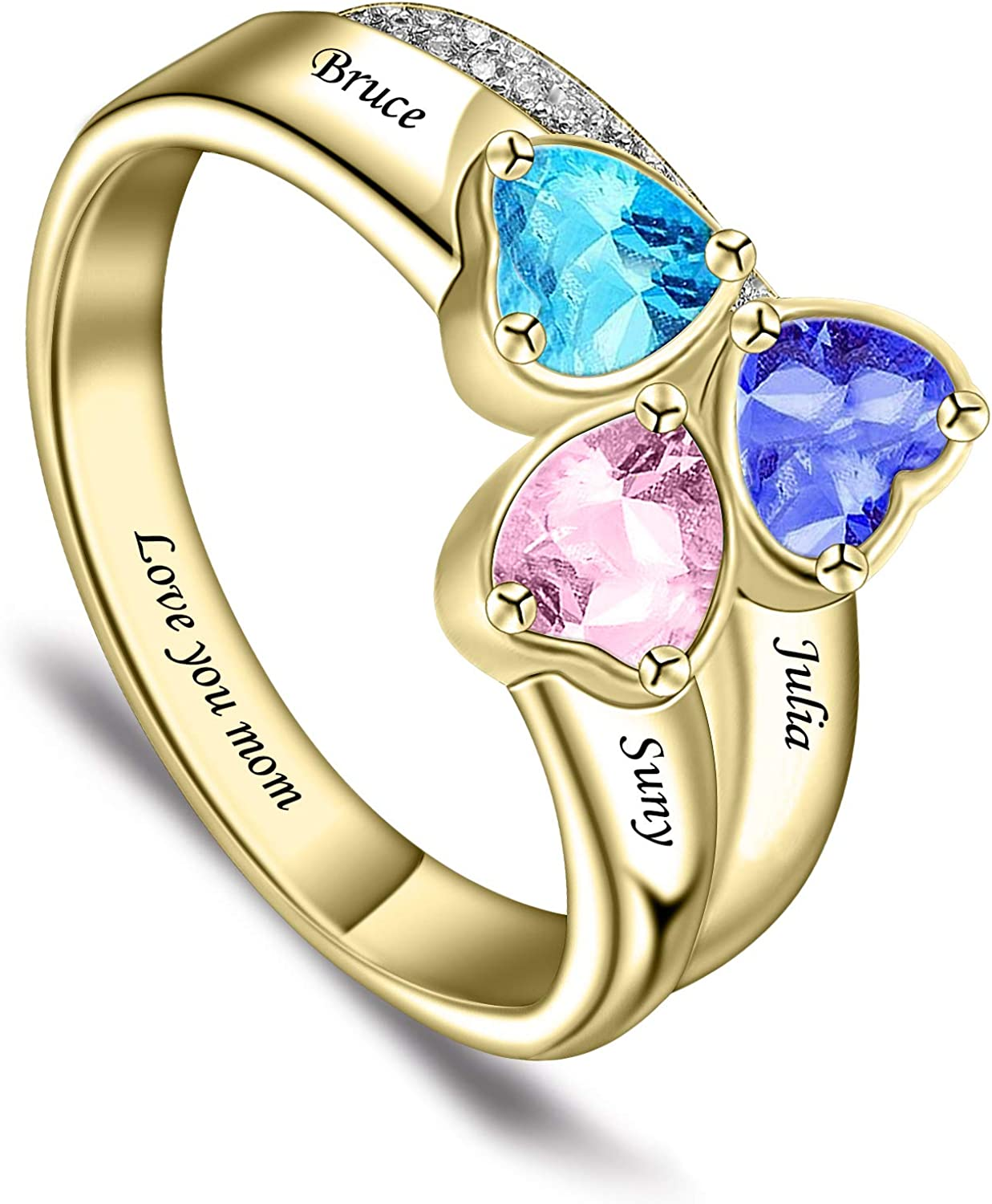 BAUMA AUTO Mothers Ring Personalized S925 Mothers Rings with 3 Simulated Birthstones for Grandmother Mother Meaningful Anniversary Rings for Women Wife