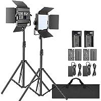 Neewer 2-Pack 2.4G LED Video Light with 2M Stand Bi-color 200 SMD CRI 94+/U-Bracket/Barndoor/LCD Display Video Lighting…