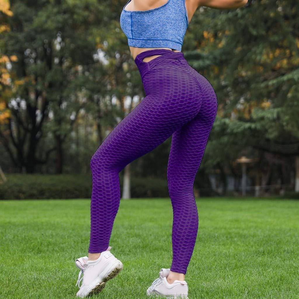 Womens High Waist Yoga Pants AmyDong Solid Fold Pleated Cross Strap Legging Running Sports Fitness Pants Trouser