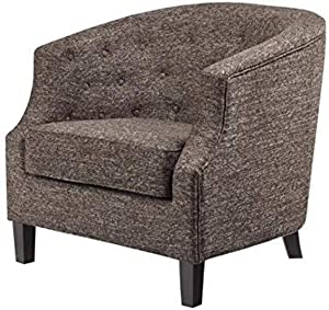 Madison Park Ansley Accent Chairs-Solid Wood, Button Tufted Armchair Modern Contemporary Style Living Room Sofa Furniture Barrel Receding Arm Design,-Bedroom Lounge, See below, Chocolate