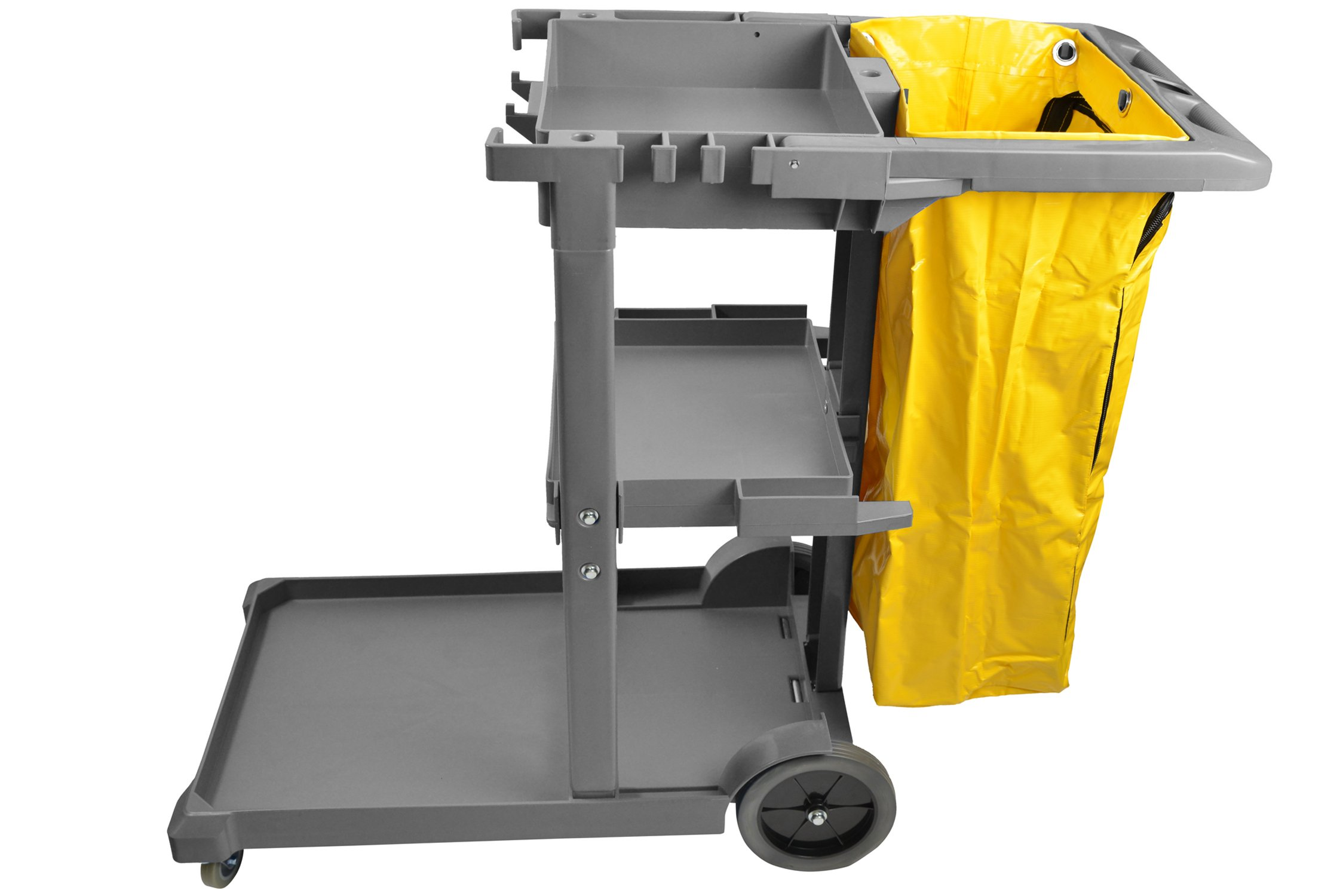 Janico 1050 Janitor Cart Commercial Housekeeping Utility Cart with 3 Shelfs, 25 Gallon Zippered Yellow Vinyl Bag, Grey, Pack of 1