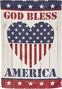 Evergreen God Bless America Heart Outdoor Safe Double-Sided Suede Garden Flag, 12.5 x 18 inches