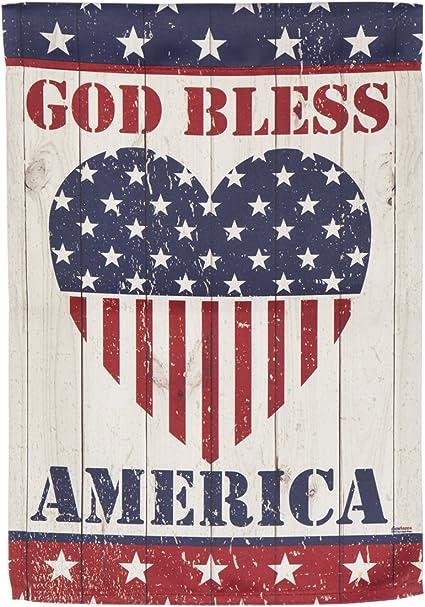 Amazon Com God Bless America Heart Garden Suede Flag 13 X 1 X 18 Inches Garden Outdoor