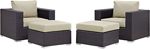 Modway Convene Wicker Rattan 4-Piece Outdoor Patio Furniture Set