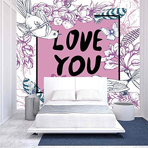Amazon Com 96x69 Inches Wall Mural Vintage Floral Arrangement Birds Butterfly Scenes From Nature Botanical Peel And Stick Self Adhesive Wallpaper Removable Large Wall Sticker Wall Decor For Home Office Home Kitchen