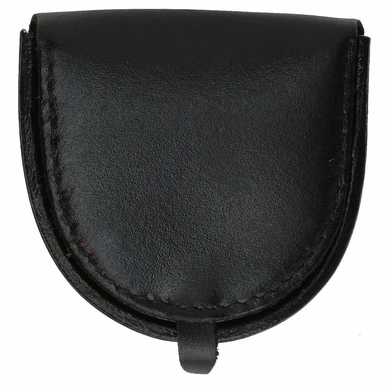 Black Genuine Leather Horseshoe Coin Change Pocket Hard Holder Purse NEW
