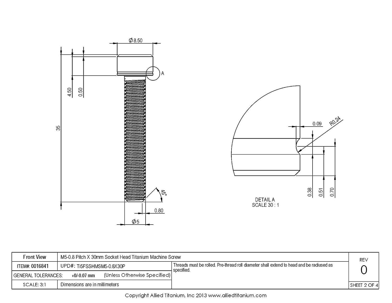 Grade 5 Ti-6Al-4V Pack of 10 609671001 Inc Allied Titanium 0016841, M5-0.8 Pitch X 30mm Metric Socket Head Machine Screw