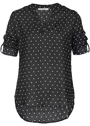 6a3118172c7b46 Seventyseven Lifestyle Damen Turn-Up Blusen Shirt Punkte Muster ...