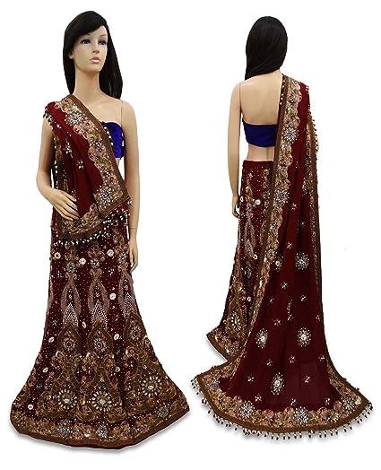 Vintage Indian Diseñador Lehenga Set con cuentas vestido de novia Tela étnica Maroon