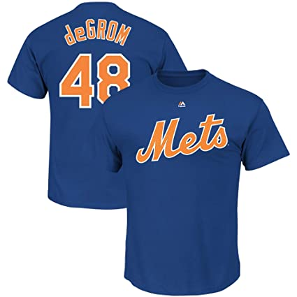 5eff2398 Outerstuff Jacob deGrom New York Mets #48 Blue Youth Name & Number Jersey T-