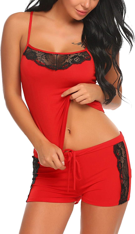 Avidlove Women Sleepwear Lace Pajamas Set Shorts Nightwear Camisole Short Sets