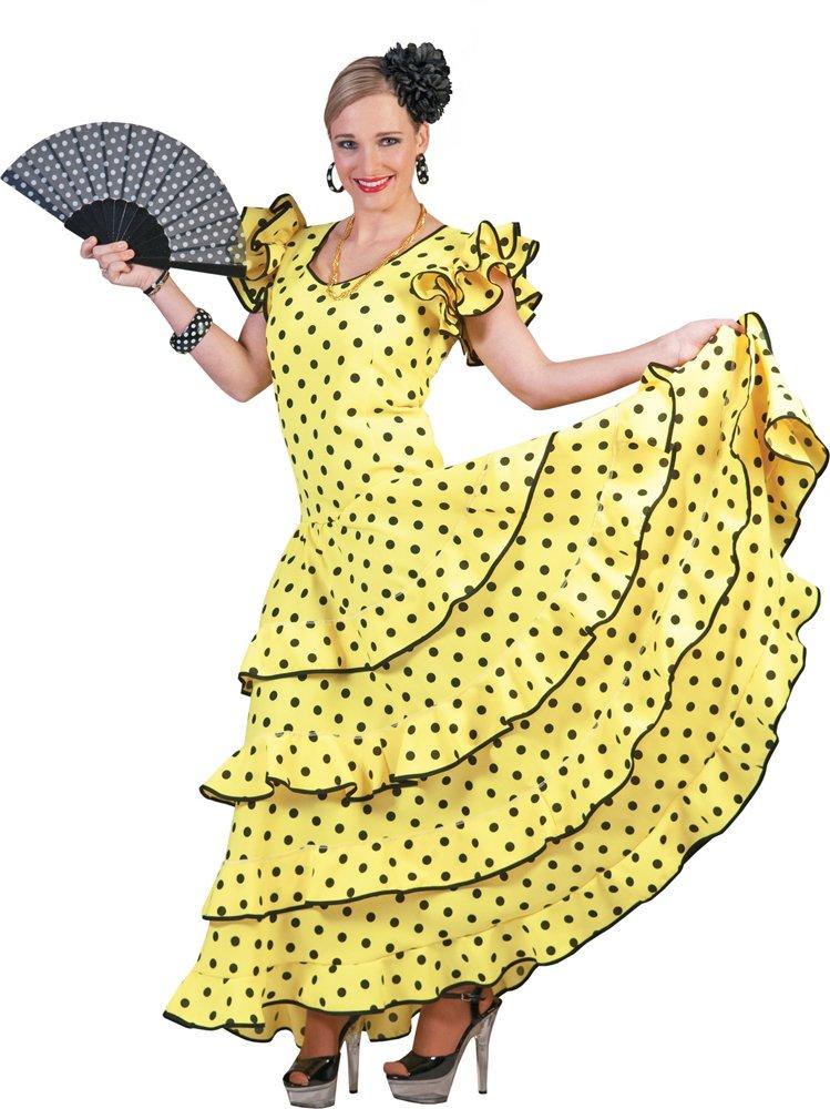 Costume flamenco giallo e nero donna Dimensione M