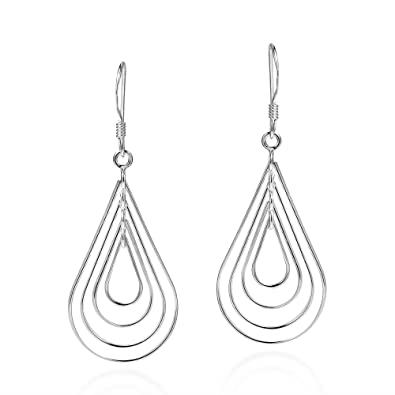 35d6bc768 Image Unavailable. Image not available for. Color: Modern Concentric  Teardrop .925 Sterling Silver Dangle Earrings