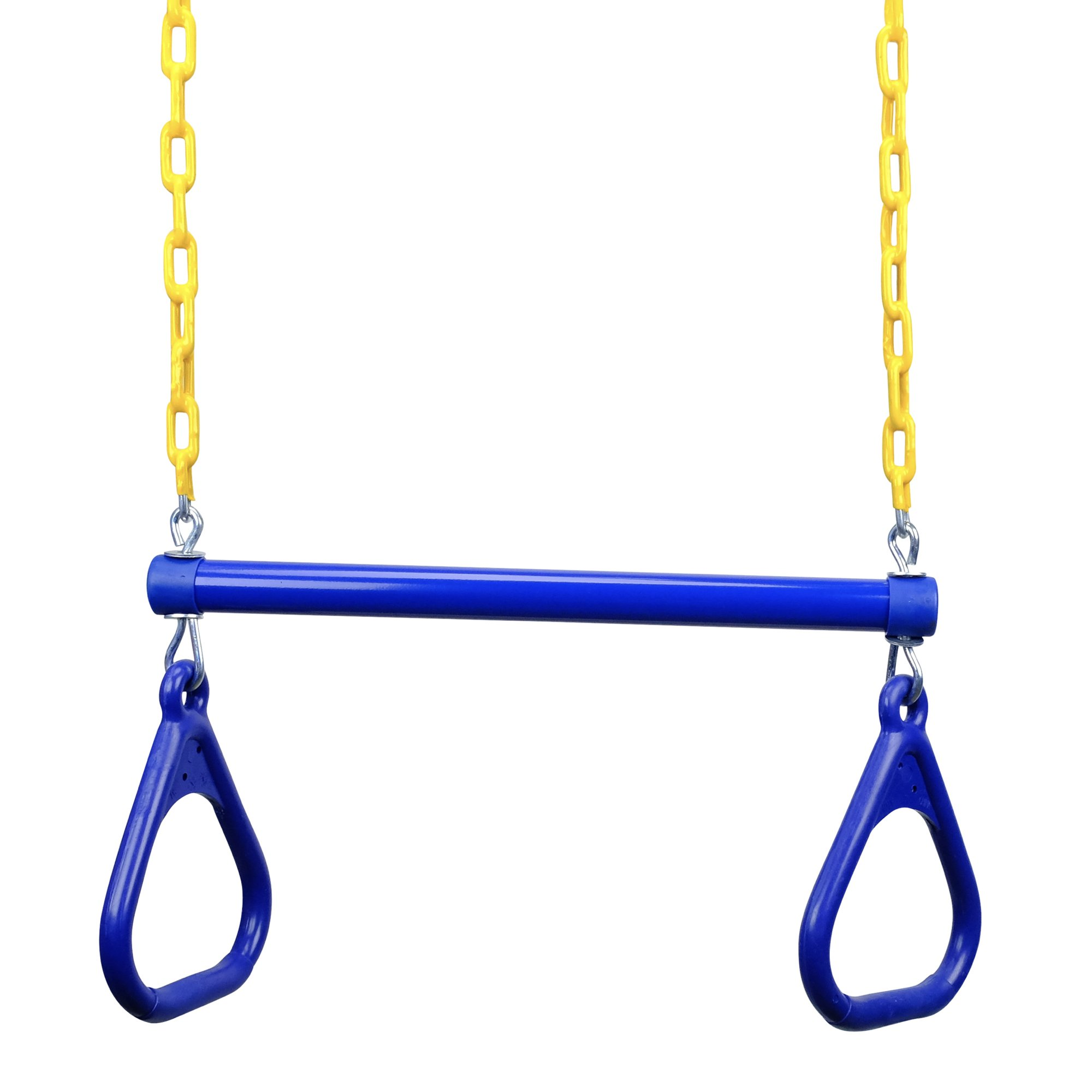 JGS 18'' Heavy Duty Trapeze Swing Bar Combo with Rings and Extra Long 43'' Coated Chain - Great for Outdoor Play, Backyard Swing Set, Jungle Gym (Blue)