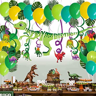 Dinosaur Birthday Party Supplies Favors, Dinosaur Hanging Swirl Decorations, Leaves, Balloon and Dinosaur Birthday Banner Set, Happy Birthday for Girls Kids Childrens Toddlers: Toys & Games