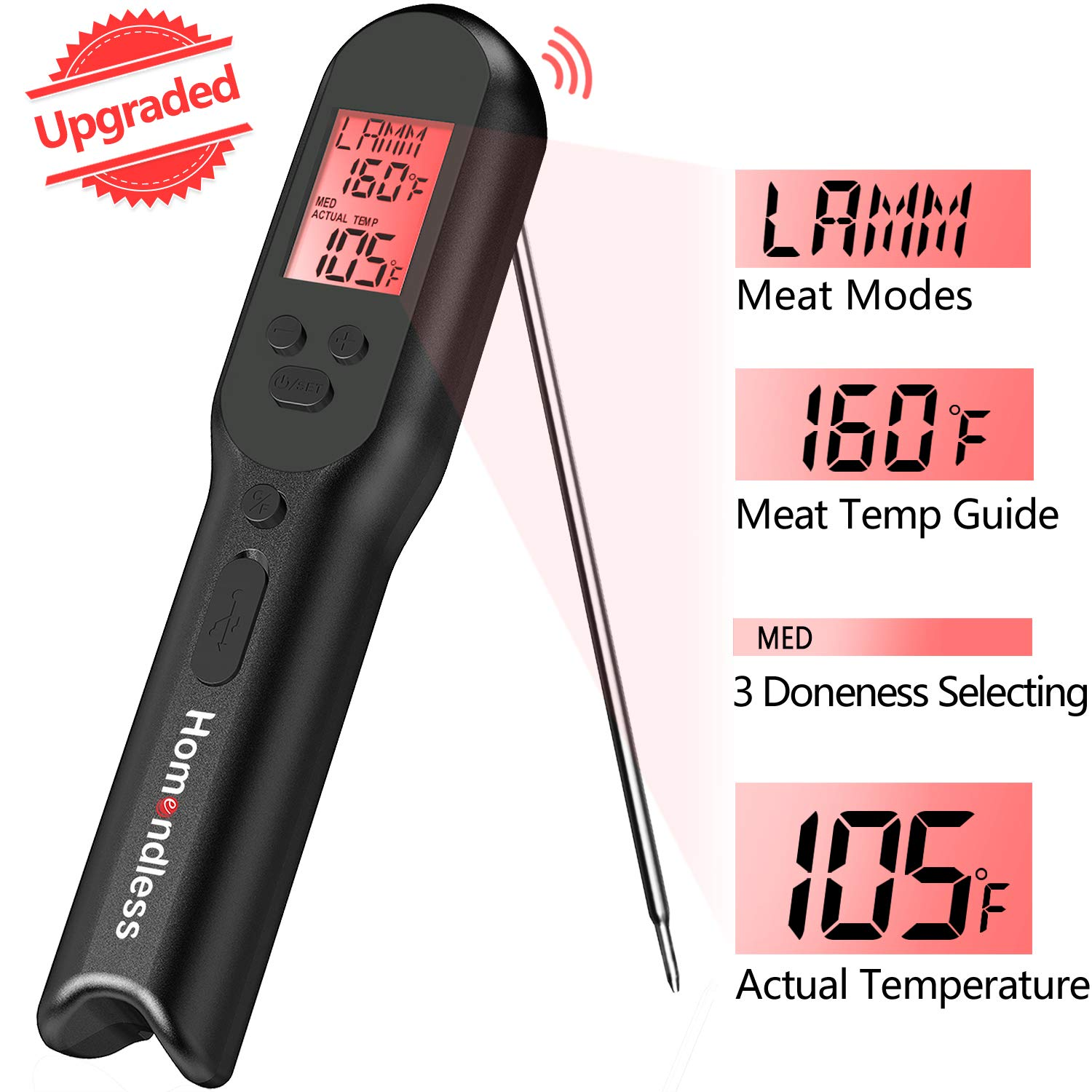Instant Read Thermometer Digital Meat Thermometer with Rechargeable Battery Built-in Food Temperature, Alarm, LCD Backlight for Kitchen Cooking Candy Grill, IPX7 Waterproof by Homendless