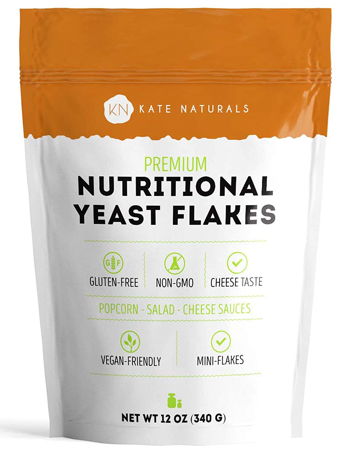 Premium Nutritional Yeast Flakes - Kate Naturals. Delicious Fortified Nooch for Vegans. Perfect for Mac & Cheese Sauce, Popcorn, Salad, Pizza. Gluten-Free & Non-GMO. Large Resealable Bag (12oz)