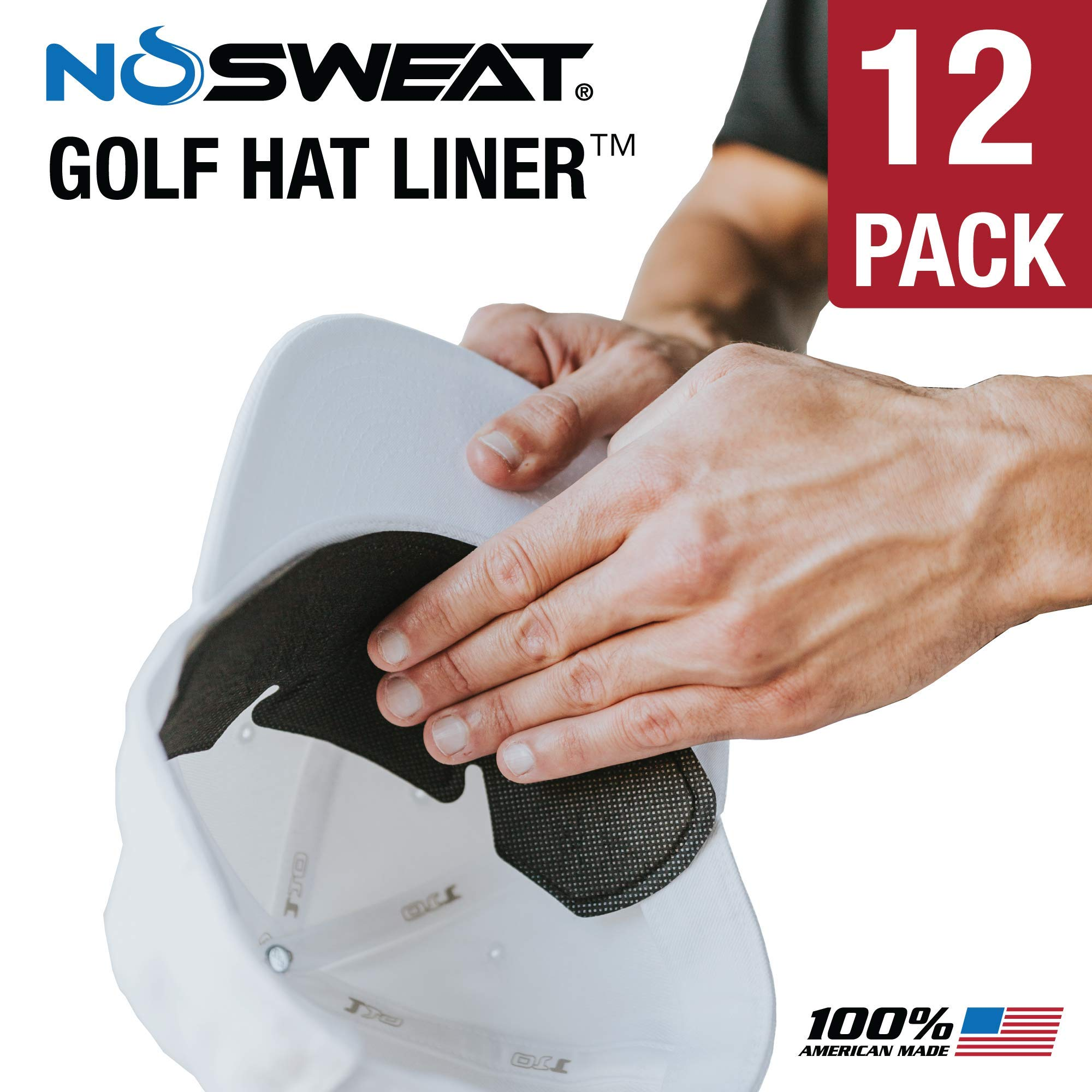 No Sweat Golf Hat Liner & Cap Protection - Moisture Wicking Sweatband Absorbs Dripping Sweat | Helps Prevent Acne, Prevents Hat Stain Rings (12-Pack) by No Sweat