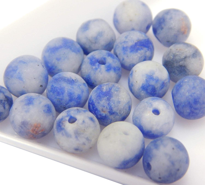 Piedras Preciosas Naturales, Sodalith, Perlas de sodalita, 6 mm, Color Azul Mate, 18 Unidades. G817 - Perlas esféricas para Joyas, Pulseras, Collares, Manualidades, Manualidades