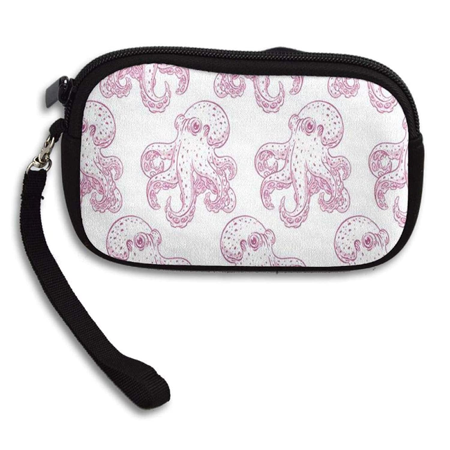 Gold Coin Purse Zip Mini Pocket Book Change Cash Bag with Regard to Men /& Women Easy Style Pink Octopus