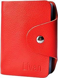 LIVAN® - L0943 - Porte Cartes Crédit 26 emplacements - Bleue - Visite - Fidélité - en Cuir De Vachette - Femme/Homme (Bleu)