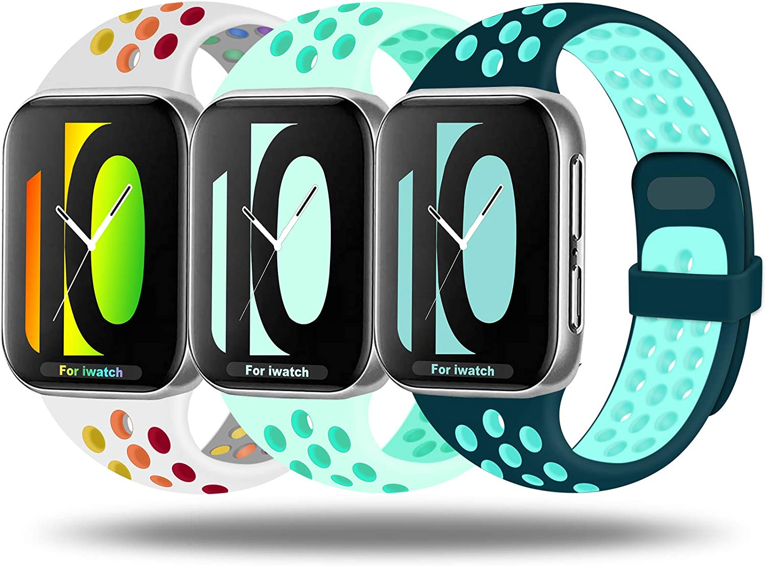 JuQBanke Sport Bands Compatible for Watch Band 38mm 40mm 42mm 44mm, Soft Silicone Sport Replacement Wristband Compatible with Watch Series 1/2/3/4/5/6/SE
