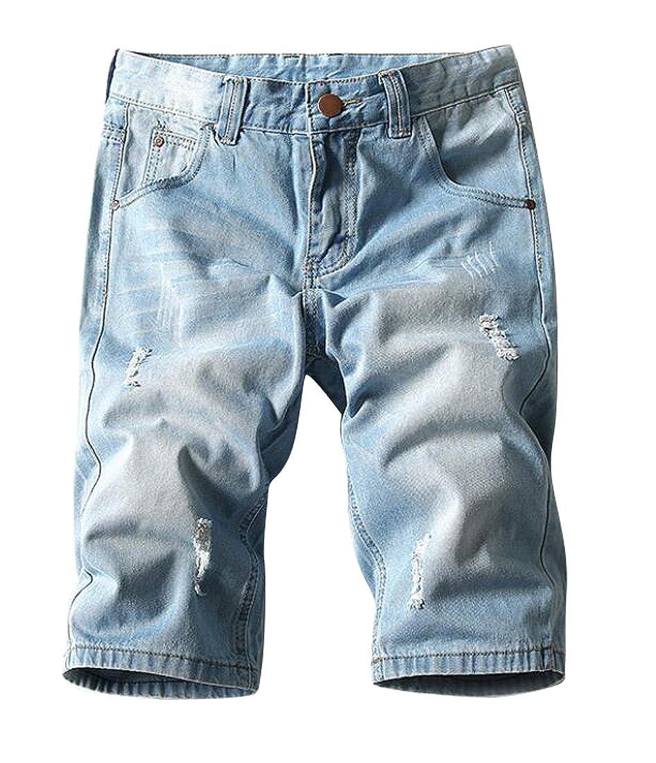 Fensajomon Mens Big and Tall Stretch Denim Shorts Destroyed Straight Leg Jeans Shorts